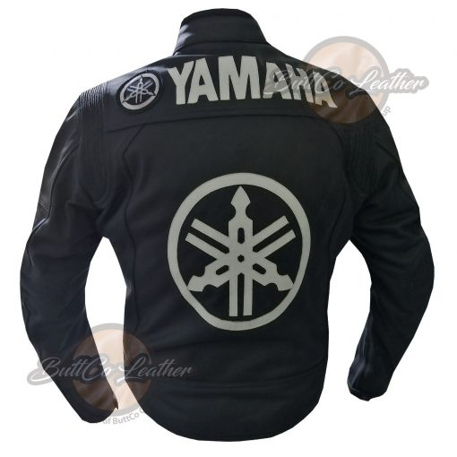 YAMAHA HEAVY BIKE BLACK LEATHER COAT back