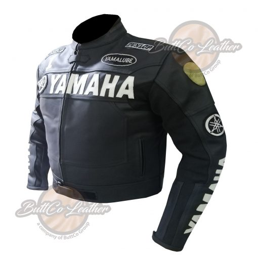 YAMAHA HEAVY BIKE BLACK LEATHER COAT side2