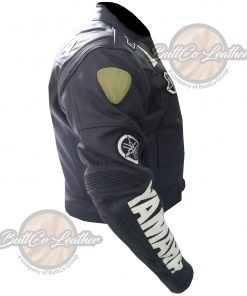 YAMAHA HEAVY BIKE BLACK LEATHER COAT side