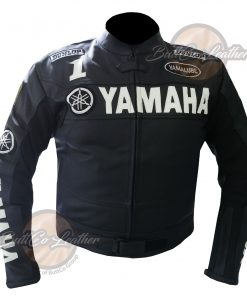 YAMAHA HEAVY BIKE BLACK LEATHER COAT front