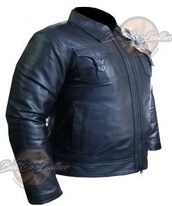 CUSTOM MOTORBIKE BLACK LEATHER GEAR side2