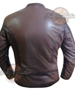 CUSTOM MOTORCYCLE BROWN LEATHER GEAR back