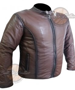 CUSTOM MOTORCYCLE BROWN LEATHER GEAR side