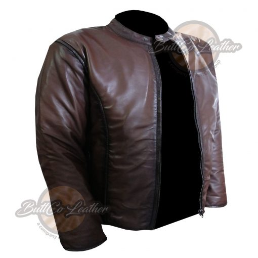 CUSTOM MOTORCYCLE BROWN LEATHER GEAR open