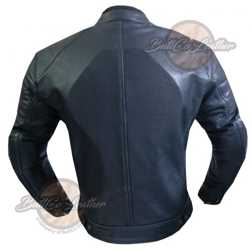 CUSTOM HEAVY BIKE BLACK LEATHER GEAR back
