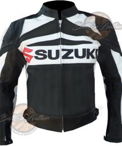SUZUKI MOTORCYCLE BLACK LEATHER GEAR front