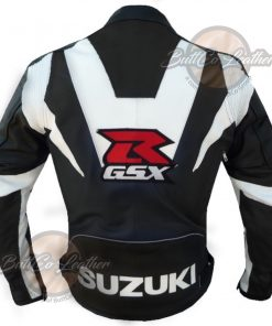 SUZUKI MOTORCYCLE BLACK LEATHER GEAR back