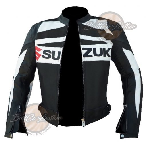 SUZUKI MOTORCYCLE BLACK LEATHER GEAR open