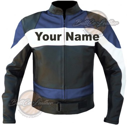 CUSTOM MOTORCYCLE NAVY BLUE LEATHER GEAR front