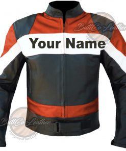 CUSTOM MOTORCYCLE ORANGE LEATHER GEAR front