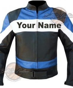 CUSTOM MOTORBIKE SKY BLUE LEATHER GEAR front