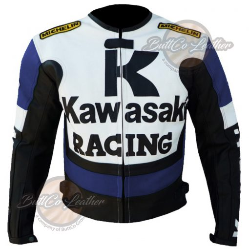 KAWASAKI MOTORCYCLE BLUE LEATHER JACKET front