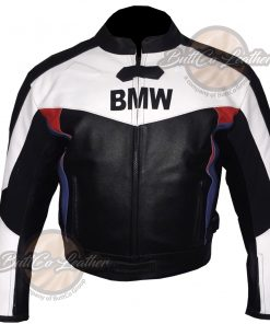 BMW BLACK AND WHITE LEATHER GEAR front