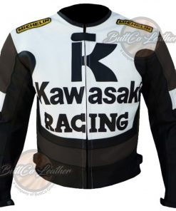 KAWASAKI MOTORCYCLE BROWN LEATHER JACKET front