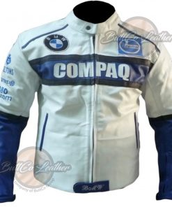 BMW COMPAQ WHITE LEATHER COAT front