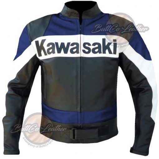 KAWASAKI MOTORCYCLE BLUE LEATHER GEAR front