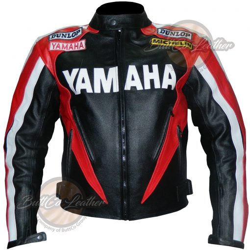 YAMAHA MOTORCYCLE RED LEATHER GEAR FRONT