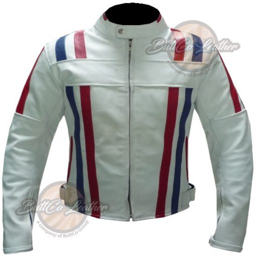 CUSTOM MOTORCYCLE WHITE LEATHER GEAR front
