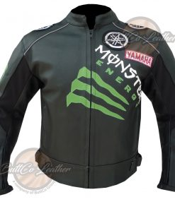 YAMAHA BLACK MONSTER LEATHER JACKET front