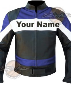 CUSTOM HEAVY BIKE BLUE LEATHER GEAR front