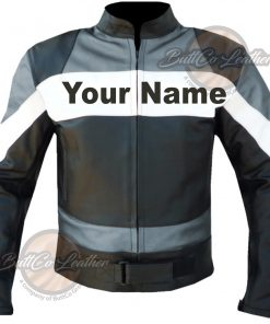 CUSTOM HEAVY BIKE GREY LEATHER GEAR front