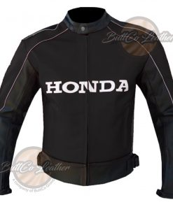 HONDA HEAVY BIKE BLACK LEATHER GEAR front