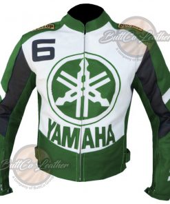 YAMAHA BIKERS GREEN LEATHER COAT front