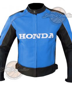 HONDA MOTORCYCLE SKY BLUE LEATHER COAT front