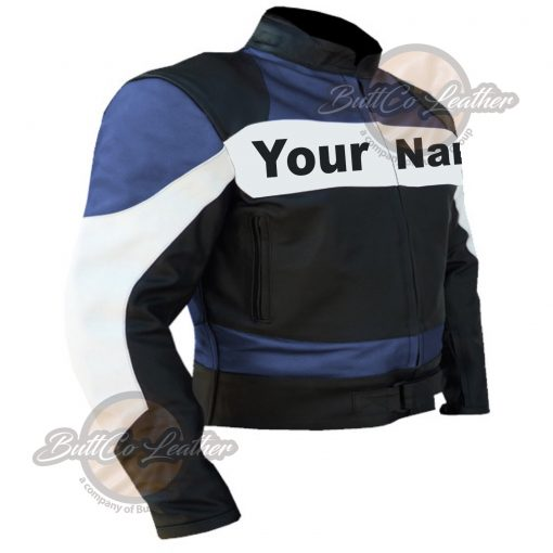 CUSTOM MOTORCYCLE NAVY BLUE LEATHER GEAR side