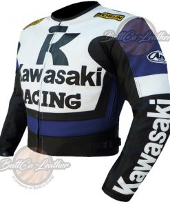 KAWASAKI MOTORCYCLE BLUE LEATHER JACKET side