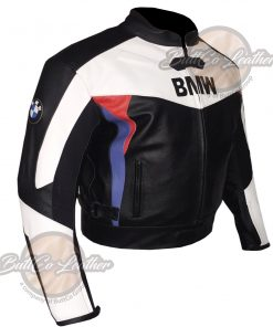 BMW BLACK AND WHITE LEATHER GEAR side