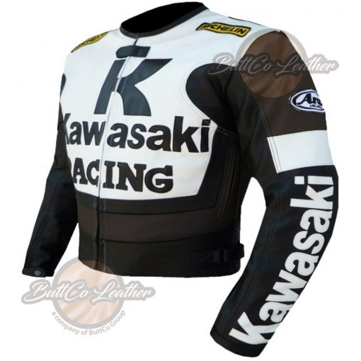 KAWASAKI MOTORCYCLE BROWN LEATHER JACKET side