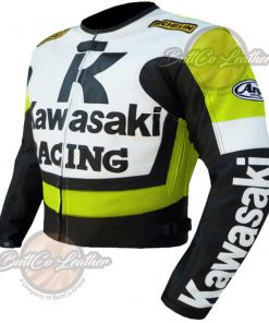 KAWASAKI MOTORCYCLE FLORESCENT LEATHER COAT side