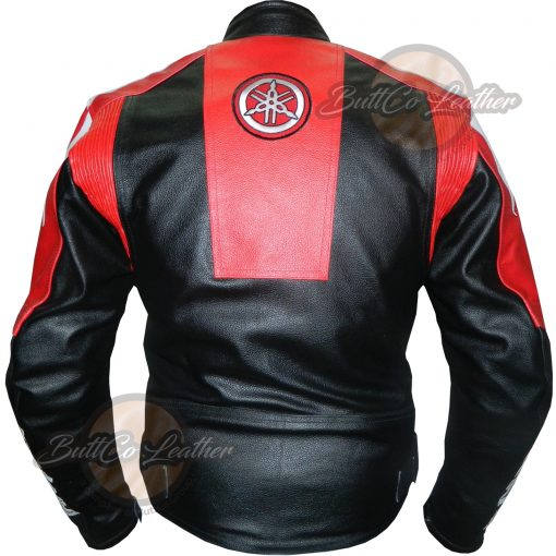 YAMAHA MOTORCYCLE RED LEATHER GEAR BACK
