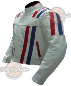 CUSTOM MOTORCYCLE WHITE LEATHER GEAR side