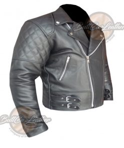 CUSTOM BLACK HEAVY BIKE LEATHER GEAR side 3
