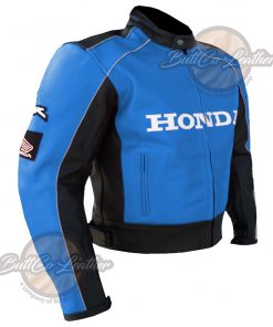 HONDA MOTORCYCLE SKY BLUE LEATHER COAT side