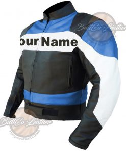 CUSTOM MOTORBIKE SKY BLUE LEATHER GEAR rit