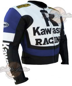 KAWASAKI MOTORCYCLE BLUE LEATHER JACKET side2
