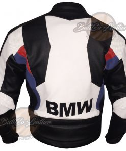 BMW BLACK AND WHITE LEATHER GEAR back