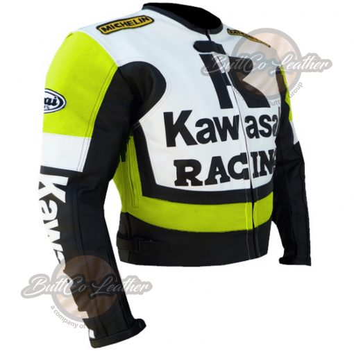 KAWASAKI MOTORCYCLE FLORESCENT LEATHER COAT side2