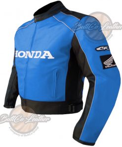 HONDA MOTORCYCLE SKY BLUE LEATHER COAT side2