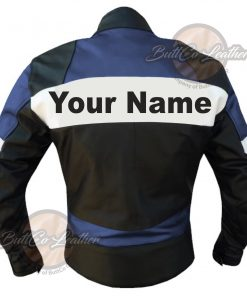 CUSTOM MOTORCYCLE NAVY BLUE LEATHER GEAR back