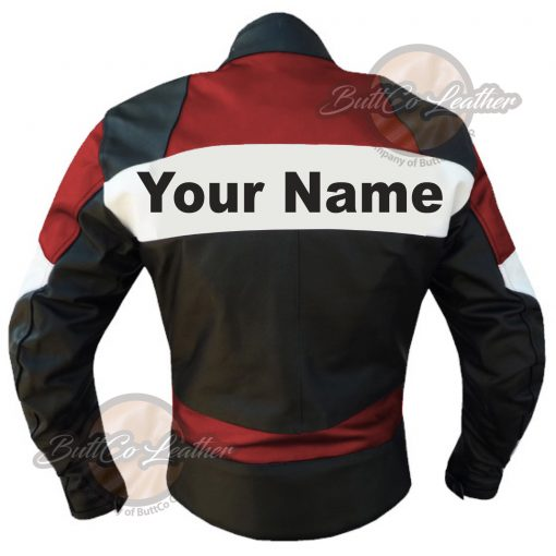 CUSTOM HEAVY BIKE RED LEATHER GEAR back