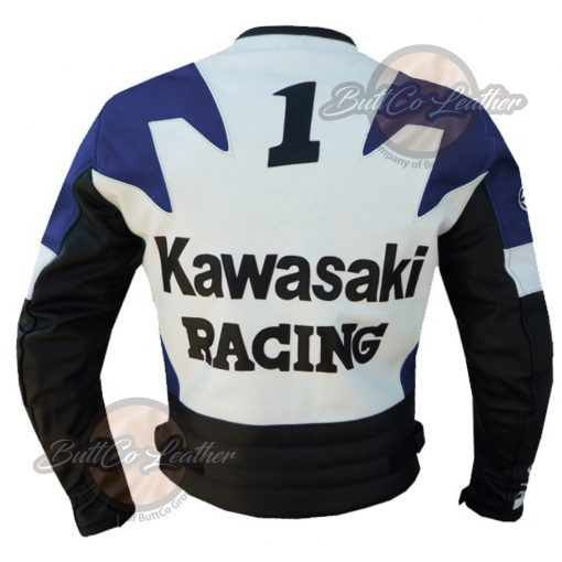 KAWASAKI MOTORCYCLE BLUE LEATHER JACKET back
