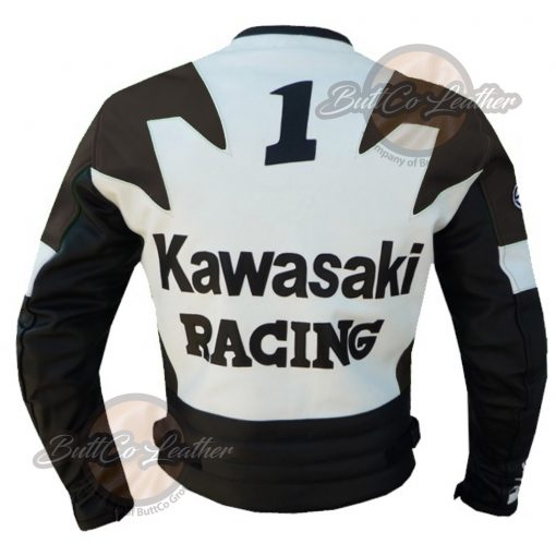 KAWASAKI MOTORCYCLE BROWN LEATHER JACKET back