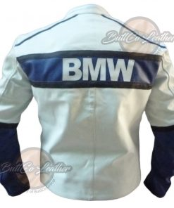 BMW COMPAQ WHITE LEATHER COAT back
