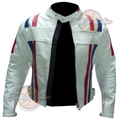 CUSTOM MOTORCYCLE WHITE LEATHER GEAR open