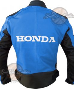 HONDA MOTORCYCLE SKY BLUE LEATHER COAT back