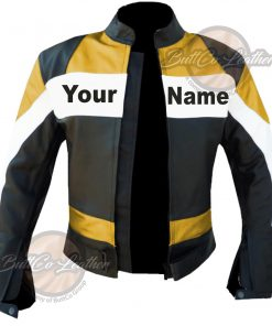CUSTOM HEAVY BIKE LEATHER LEATHER COAT open
